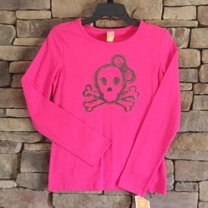 Other - Girls Hot Pink Long Sleeve Skull T-shirt.  NWT